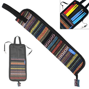 Portable Folk Style Knitted Drum Stick Gig Bag Waterproof Drumsticks Storage Case Holder Percussion Instruments Accessories