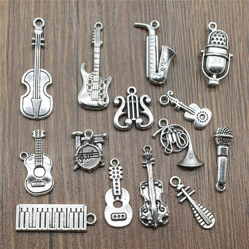 10pcs/lot Musical Instrument Charms Antique Silver Color Guitar Microphone Violin French Horn Charms For Jewelry Making