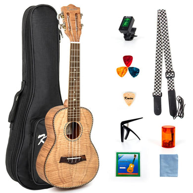 Kmise Concert Ukulele Ukelele Tiger Flame Okoume Starter Kit  23 inch Classical Guitar Head with Gig Bag Tuner Strap String
