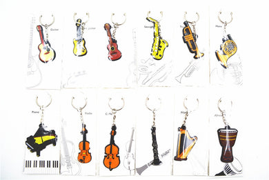 Niko Rubber Classical/Modern Nation Musical Instrument Guitar/Drum/Piano/Horn/Violin/Harp/Clarinet/Saxphone/Trumpet Keychain