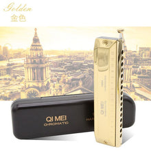 Load image into Gallery viewer, High-end Chromatic Harmonica 16 Holes 64 Tones Gold Black Sliver Laser Proceeded Woodwind Musical Instrument QiMei Harp QM1664