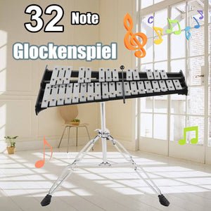 Foldable 32 Note Glockenspiel Xylophone Wooden Frame Aluminum Educational Percussion Musical Instrument With Carrying Case