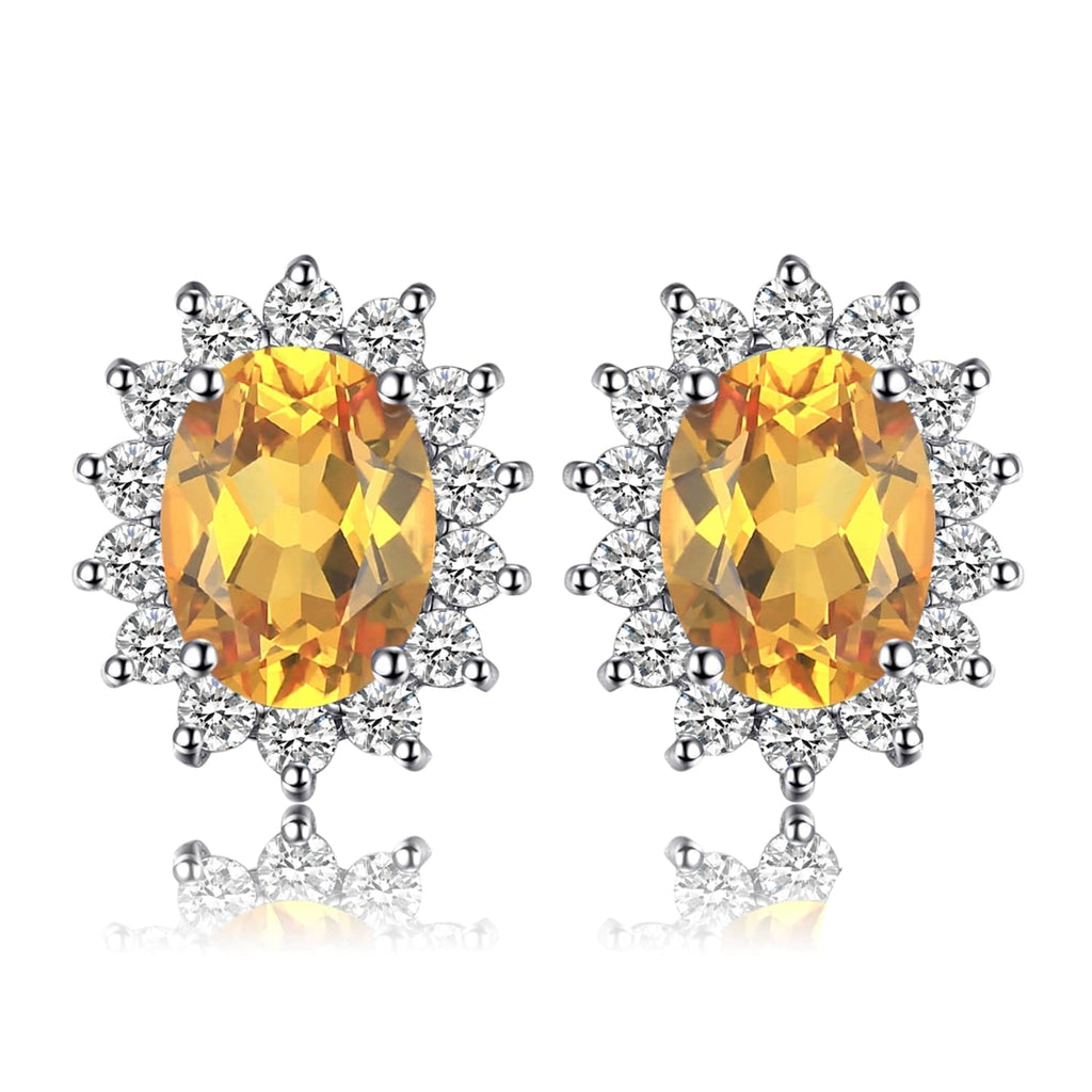 Earrings for Girls and Women with Yellow Citrine Gems