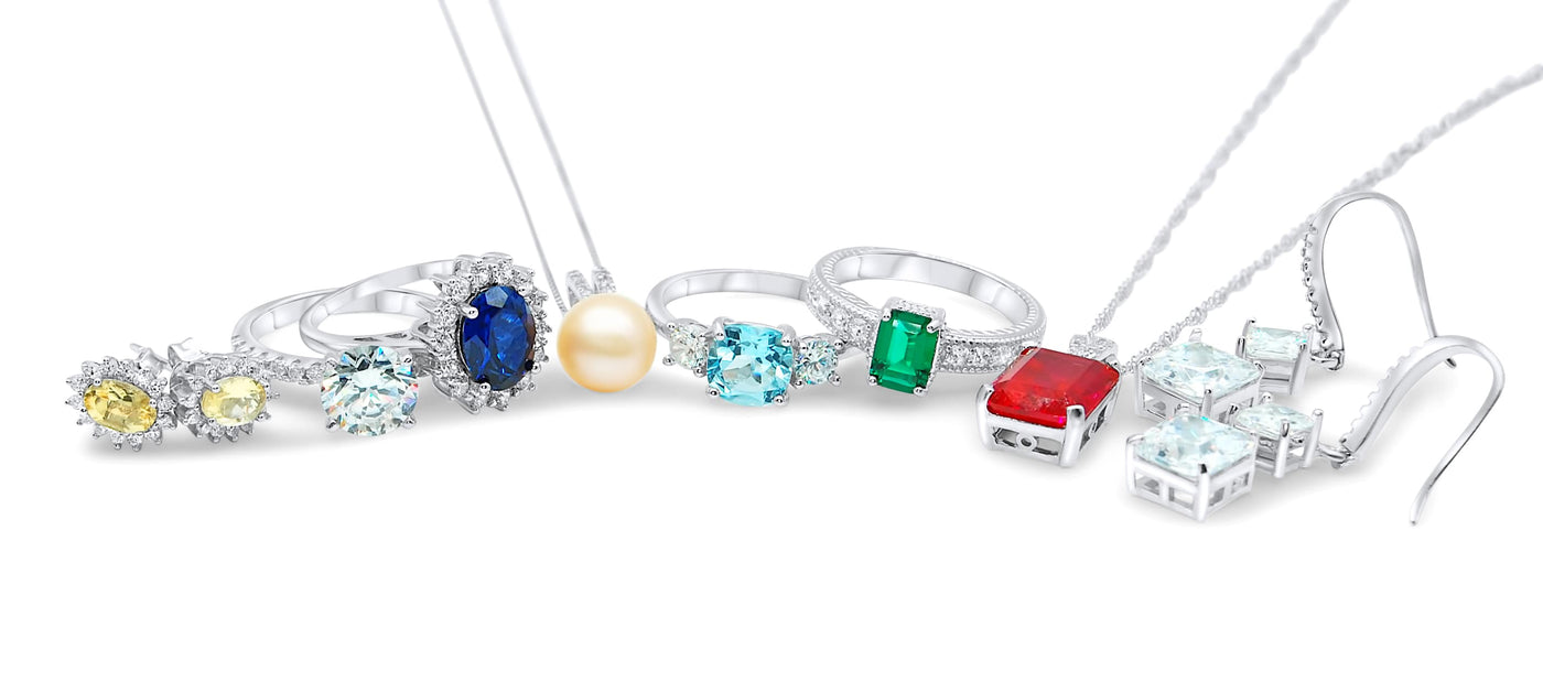 Gemstone Jewelry - Citrine, Sapphire, Topaz, Emerald, Ruby & Simulated Diamond - Rings, Earrings and Necklaces
