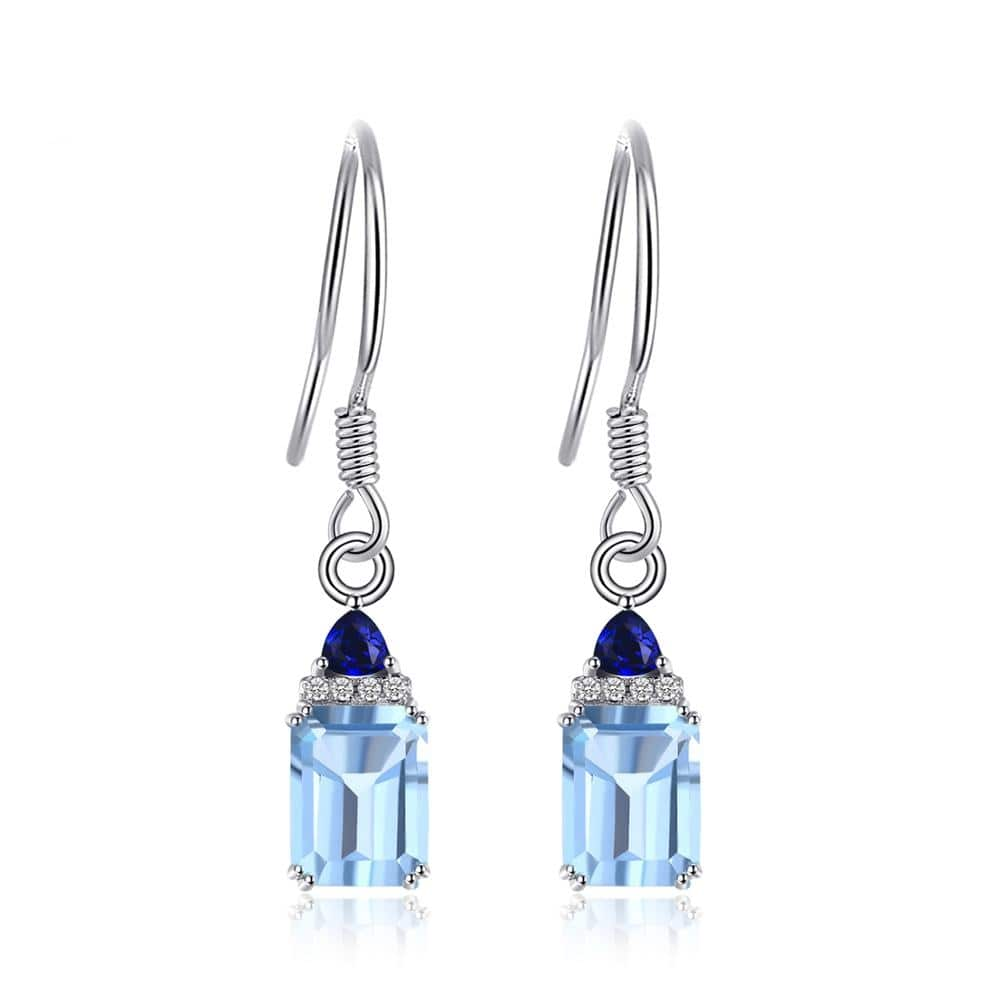 November birthstone earrings with Real sky blue topaz