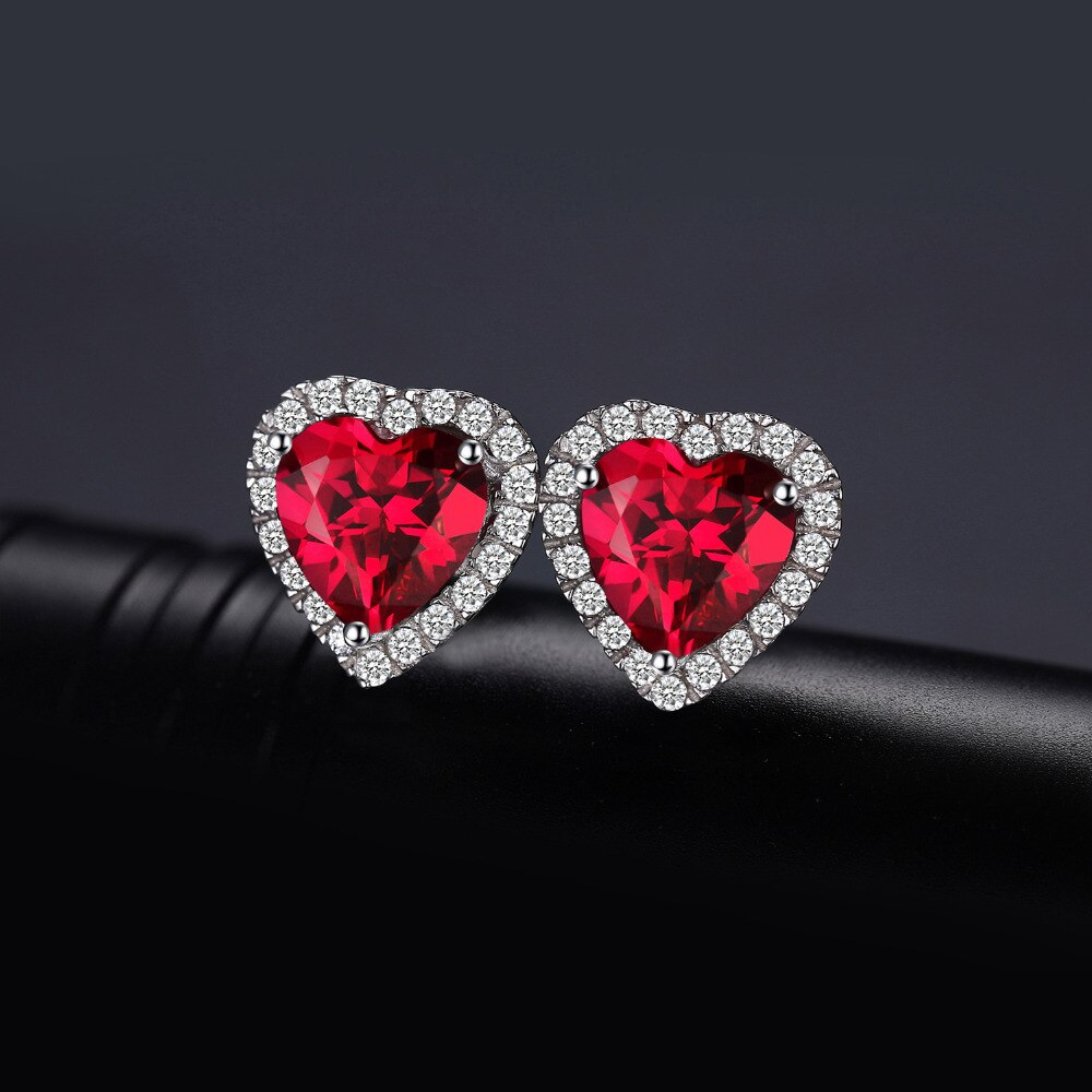Heart Earrings for Girls and Women as Gift with Real Red Ruby