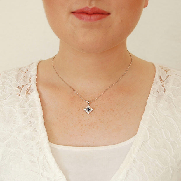 0.4ct Sapphire White Gems Necklace - Pure Gems