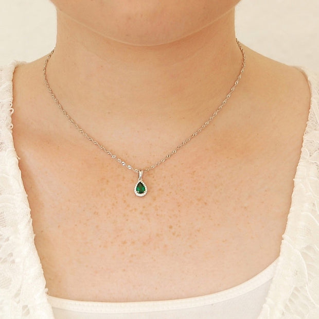 0.6ct Emerald Simulant Pear Necklace - Pure Gems
