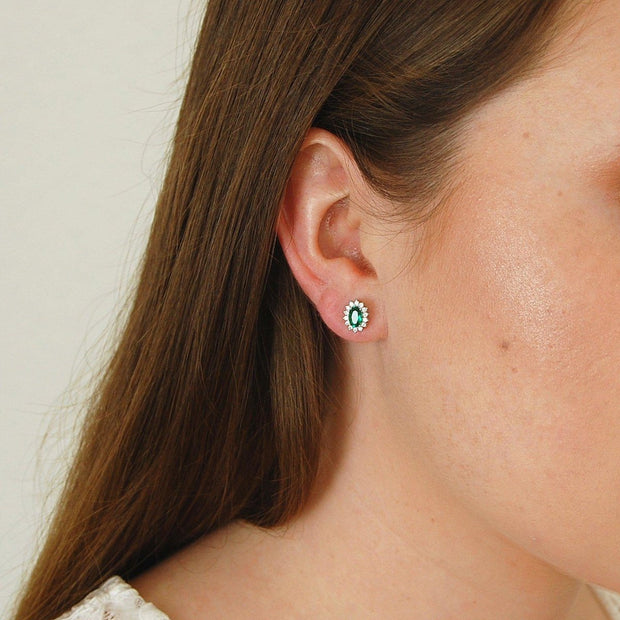Emerald Stud Earrings for Girls