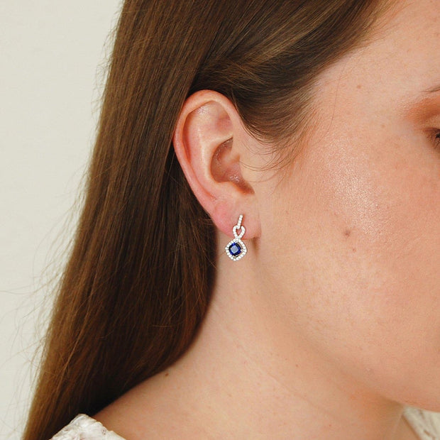 Blue Sapphire Cushion Cut Earrings
