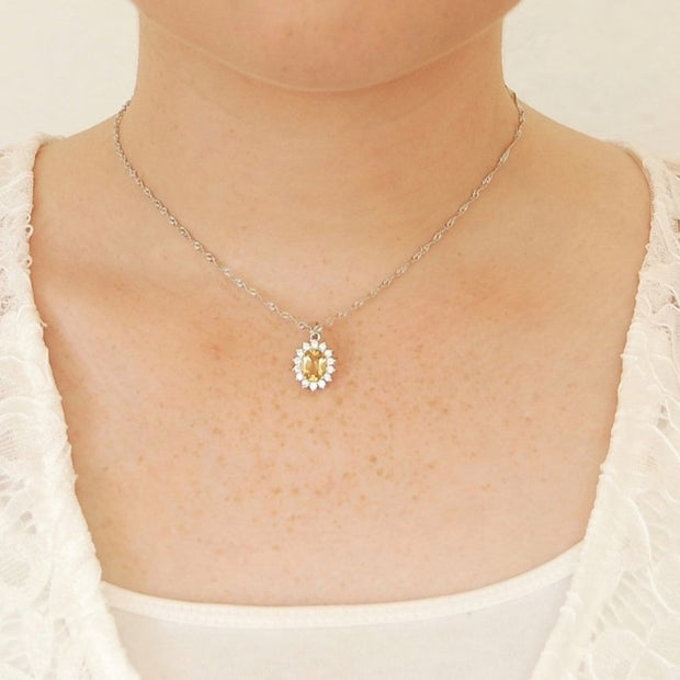 Yellow Citrine with Diamonds Pendant Necklace for Women