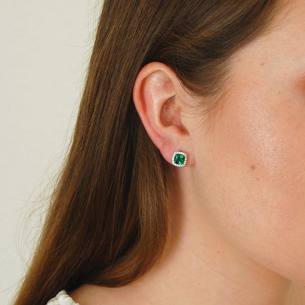 Emerald Simulant Stud Earrings