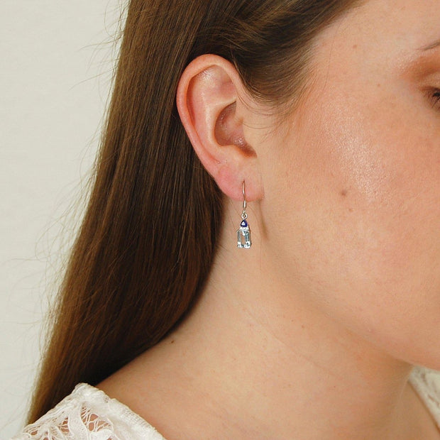 Topaz Emerald Cut Earrings
