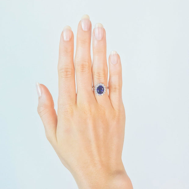 2.6ct Blue Sapphire Princess Ring - Pure Gems