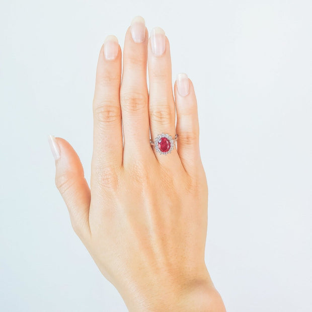 2.6ct Red Ruby Princess Ring - Pure Gems