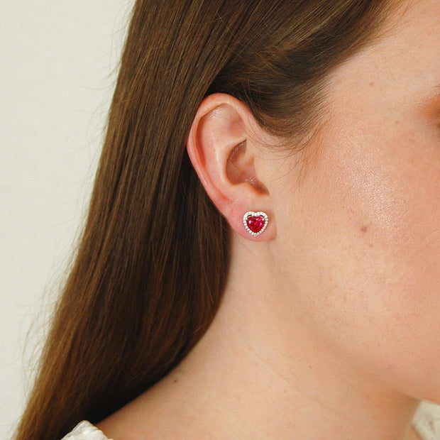 Heart Shaped Ruby Earrings