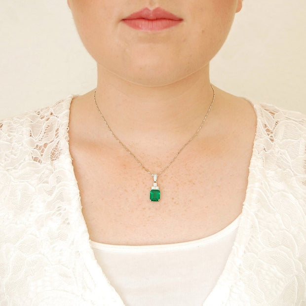 3.7ct Green Emerald Cut Necklace - Pure Gems