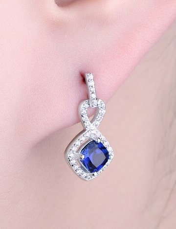 Blue Cushion Cut Sapphire Earrings