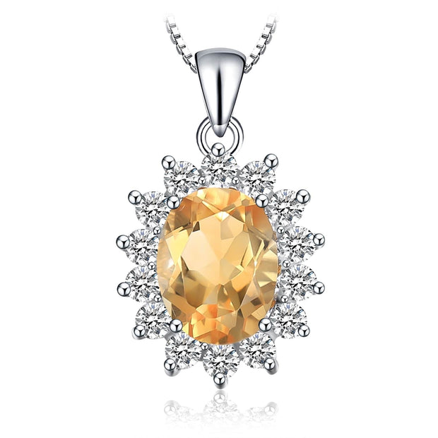 Citrine Necklace: Yellow Gemstone Citrine Pendant Necklace with Natural Citrine