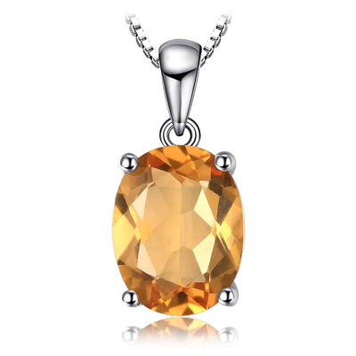 Citrine Necklace: Yellow Gemstone Pendant Necklace with Real Natural Citrine