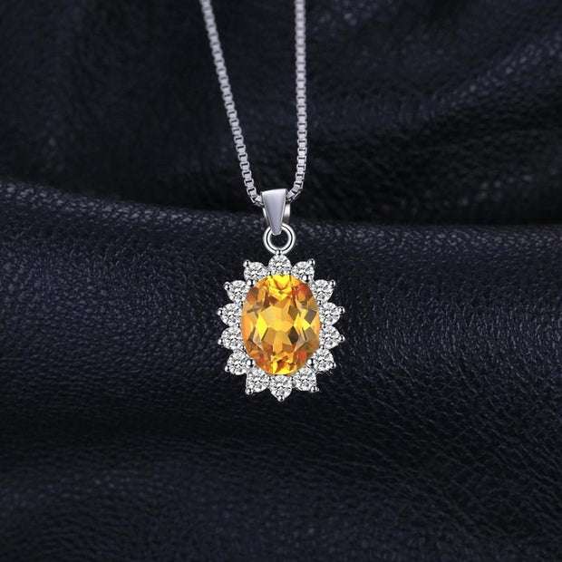 Citrine Pendant Necklace - With Natural Citrine Yellow Gemstone for Ladies