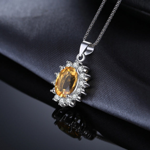 Citrine Stone Necklace - November Birthstone Necklace: Yellow Citrine