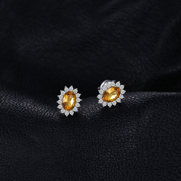 Natural Citrine Stud Earrings: Yellow Gemstone Earrings for Girls