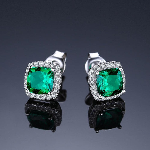 Cushion Cut Emerald Earrings