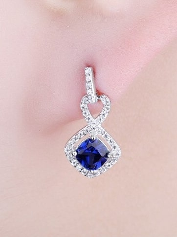 Cushion Sapphire Earrings