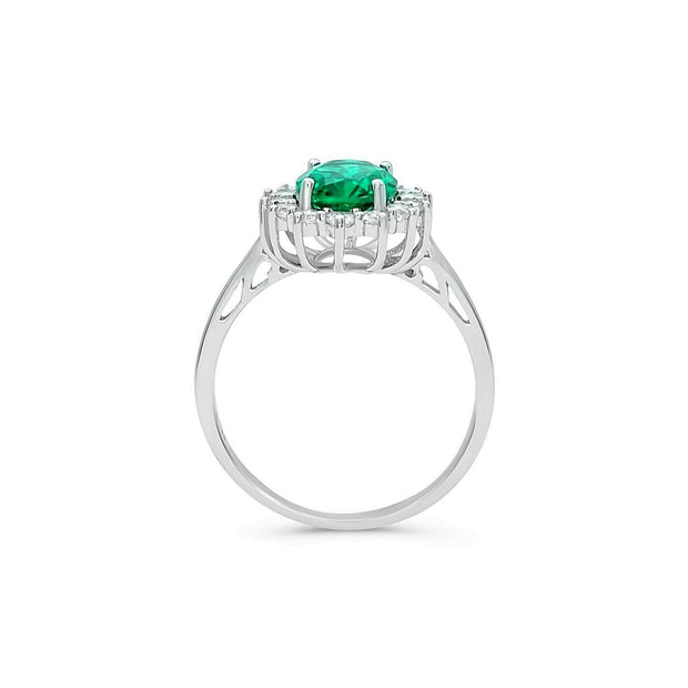 1.7ct Emerald Simulant Princess Ring
