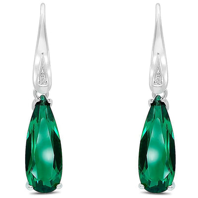 4ct Emerald Simulant Drop Earrings-Pure Gems