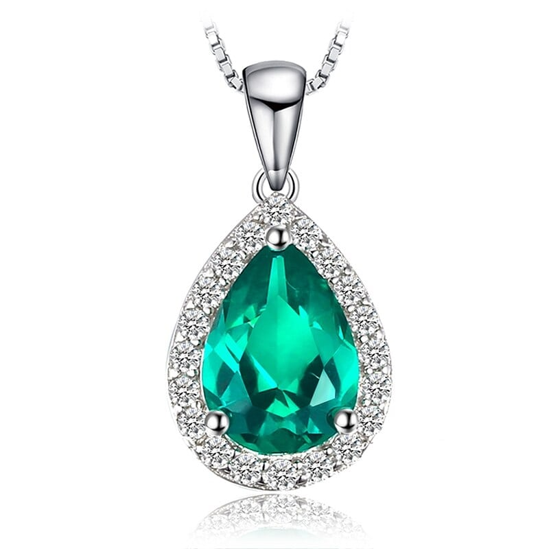 Emerald Chain: Pear Cut Emerald Pendant Necklace