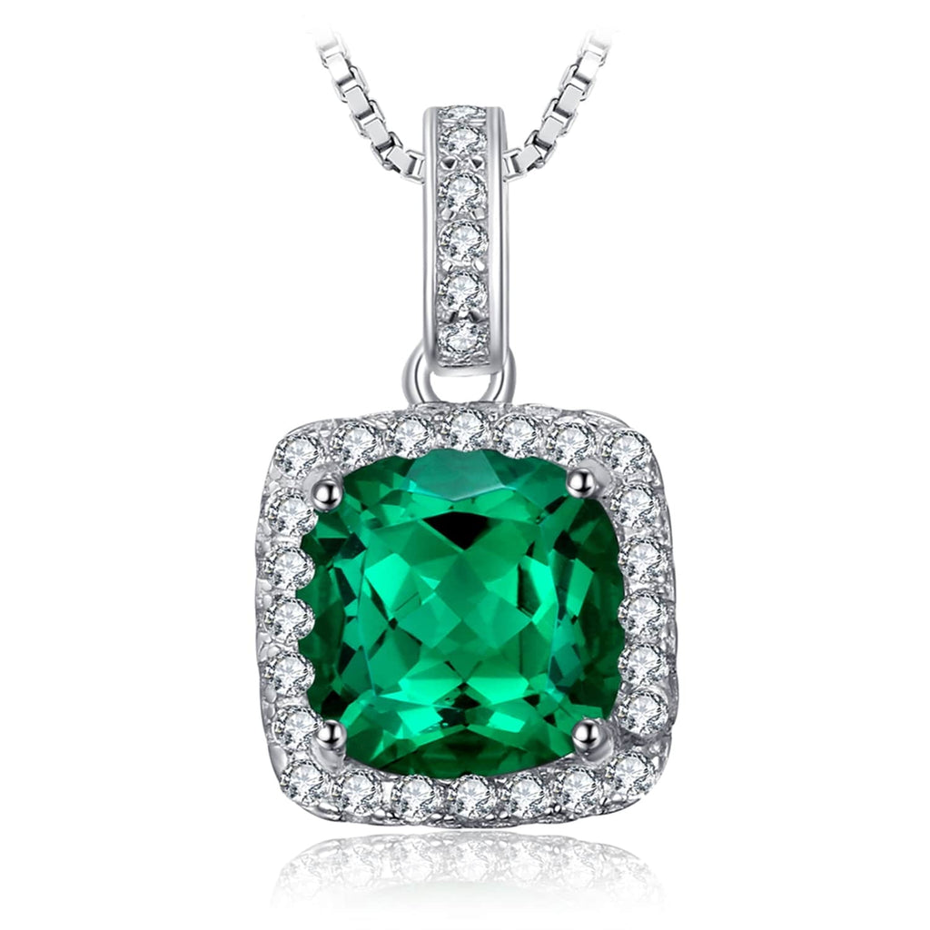 Emerald Green Necklace - With Top Grade Cushion Cut Simulated Emerald