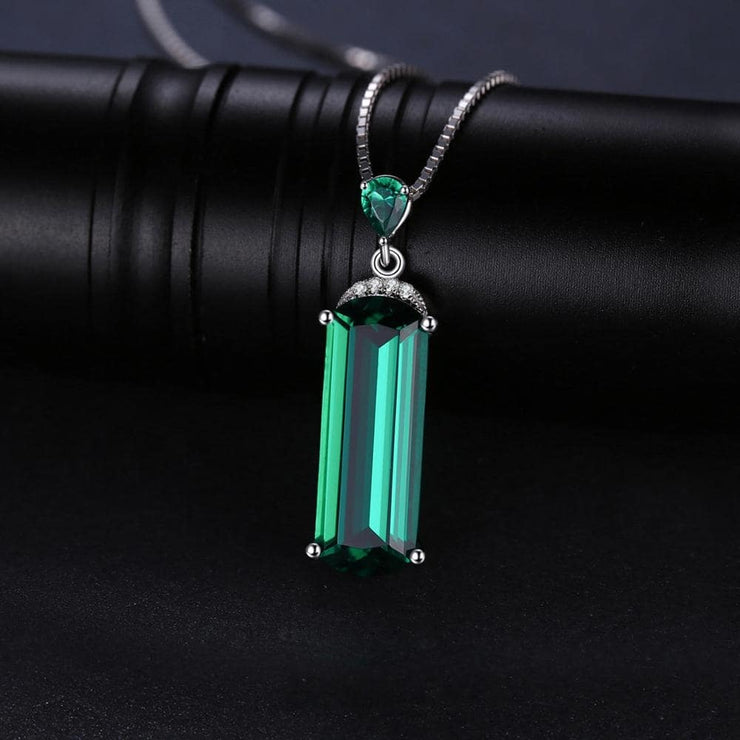 Emerald Pendant Necklace long