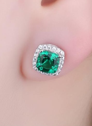 Emerald and Diamond Studs