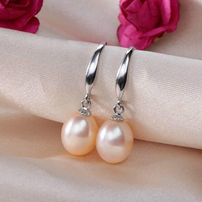 Pearl Earrings Hanging: Quality Pink Pearl Earrings Hanging at Silver Hoops
