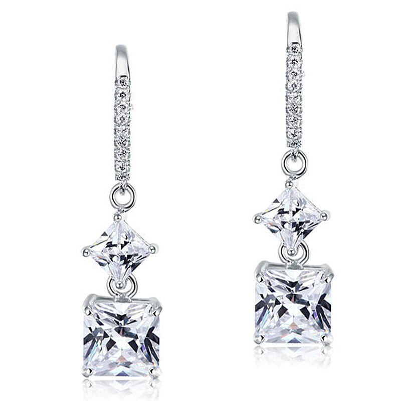 Anting-anting Berlian Simulasi Princess Cut