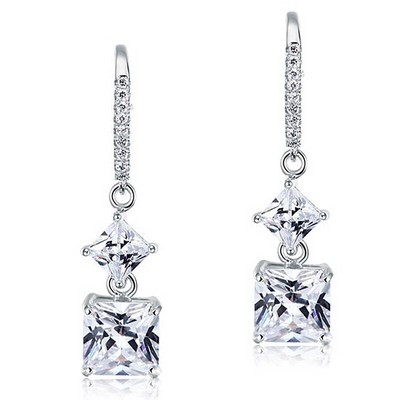 Princess Cut Simulated Diamond Earrings