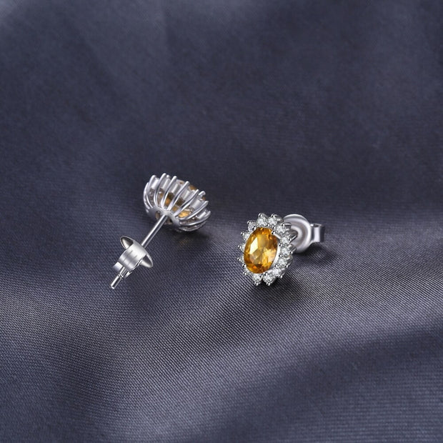 Silver Citrine Earrings in the Style of Yellow Citrine Studs: Citrine Earrings UK and Worldwide Free Shipping