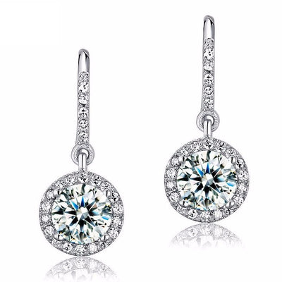 Simulated Diamond Halo Earrings