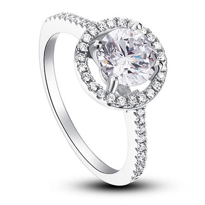 Simulated Diamond Halo Ring