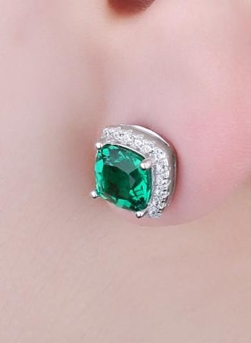 Simulated Emerald Stud Earrings