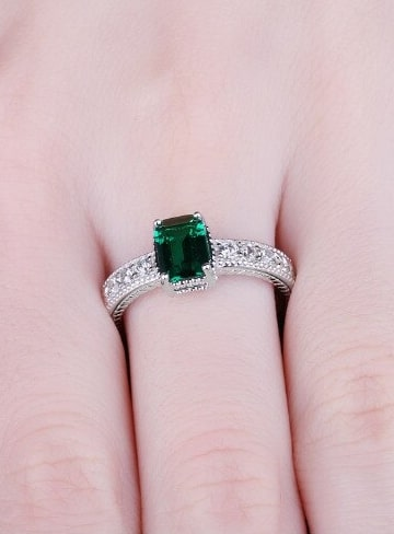 Simulated Emerald rings