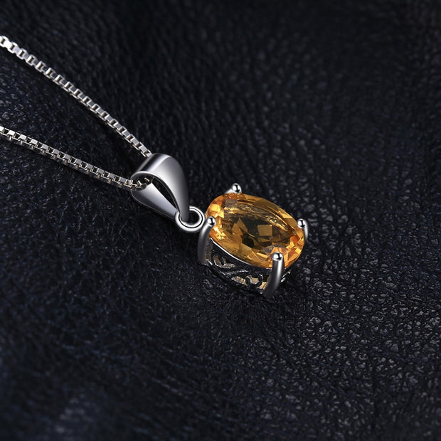 Sterling Silver Citrine Pendant Necklace: Yellow Gemstone November Birthstone Pendant Necklace