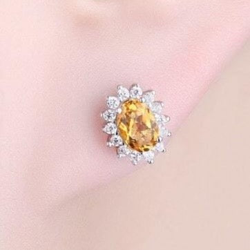 Yellow Citrine Earrings: Yellow Gemstone Stud Earrings for Ladies