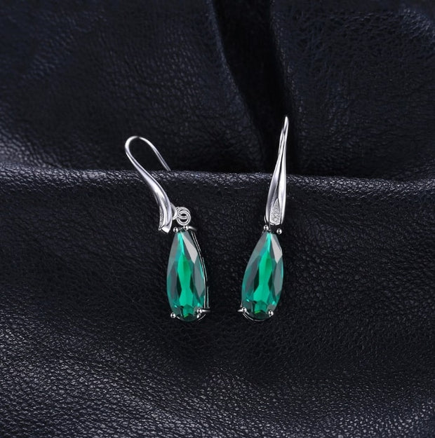 Long Emerald Earrings