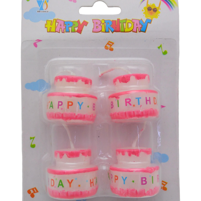 4 pc Happy Birthday Candles Pink - BulkHunt - Wholesale Return Gifts Online