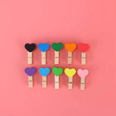 Heart Colored Wooden Clips