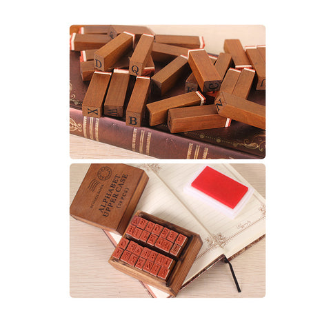 Alphabet Stamps Vintage Wooden ( UPPER Case )