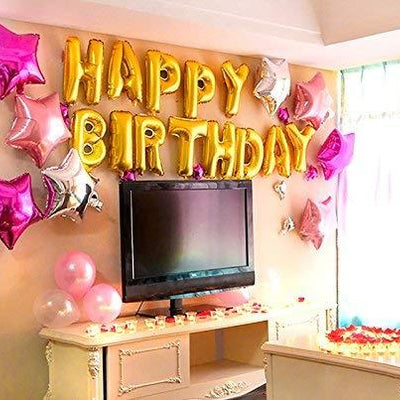 Golden Happy Birthday Foil Balloons - BulkHunt - Wholesale Return Gifts Online